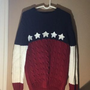 Red white and blue Cable knit sweater
